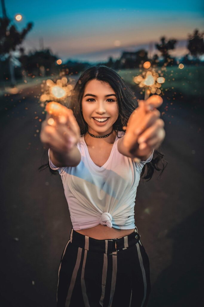 woman pointing stars