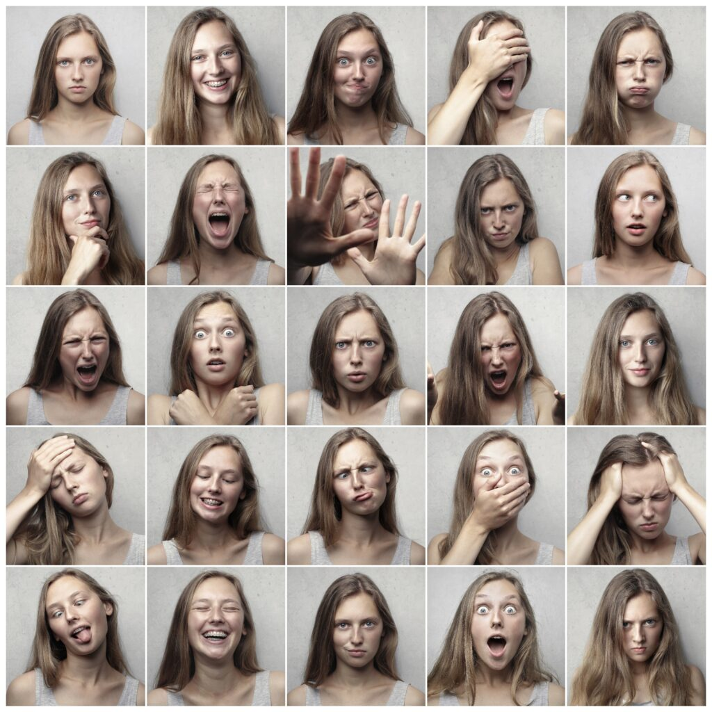 uk fintech lead generation - woman showing different emotions